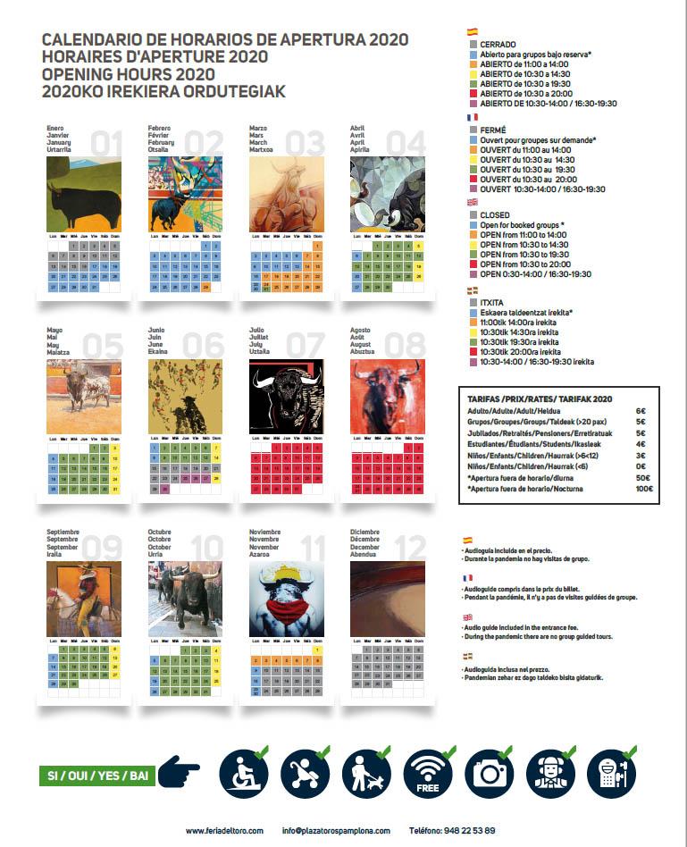 calendario visitas guiadas 2020