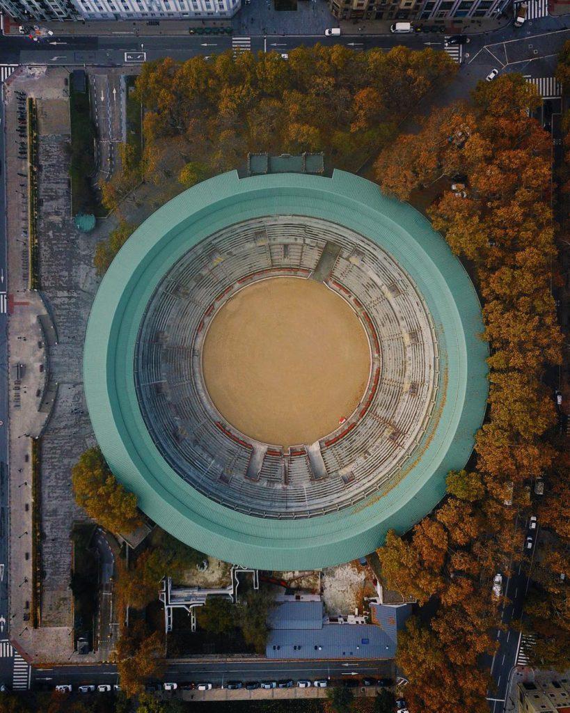 Vista aérea de la Plaza de Toros de Pamplona